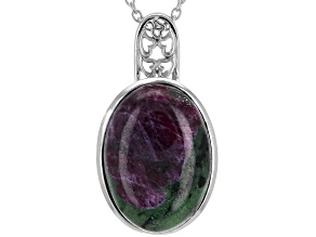 Red Ruby-in-Zoisite rhodium over sterling silver pendant with chain