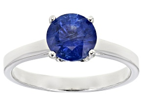 Blue kyanite rhodium over sterling silver solitaire ring 1.36ct