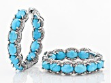 Blue turquoise rhodium over silver earrings 1.28ctw