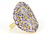 Blue tanzanite 18k yellow gold over sterling silver ring 3.71ctw