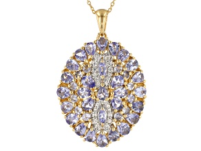 Blue tanzanite 18k gold over silver pendant with chain 3.91ctw