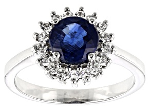 Blue kyanite rhodium over silver ring 1.72ctw