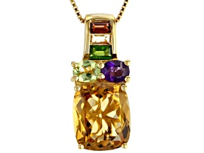 Yellow citrine 18k gold over silver pendant with chain 4.87ctw