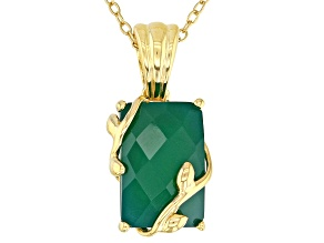 Green onyx 18k yellow gold over silver pendant with chain
