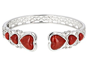 Red coral rhodium over sterling silver cuff bracelet
