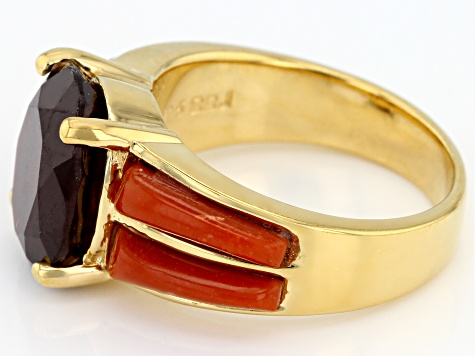 Red hessonite garnet 18k yellow gold over silver ring 4.59ct