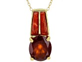 Red hessonite 18k  yellow gold over silver pendant/slide with chain 4.59ct