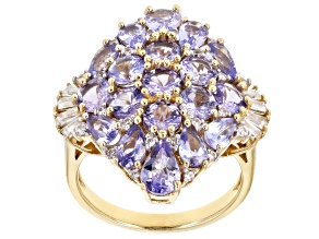 Blue Tanzanite 18k Gold Over Silver Ring 4.80ctw