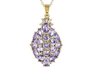 Blue Tanzanite 18k Gold Over Silver Pendant With Chain 4.59ctw