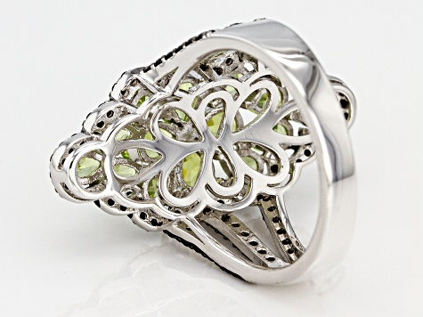 Green peridot rhodium over silver ring 3.27ctw