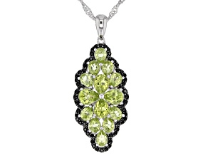 Green peridot rhodium over silver pendant with chain 2.97ctw