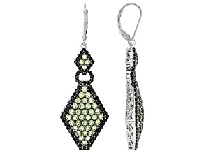 Green peridot rhodium over silver earrings 5.45ctw