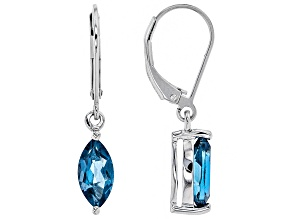 London blue topaz rhodium over silver earrings 2.20ctw