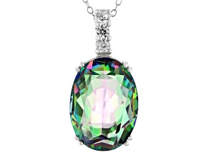 Multicolor quartz rhodium over silver pendant with chain 9.60ctw