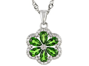 Green Chrome Diopside Rhodium Over Sterling Silver Pendant With Chain 1.46ctw