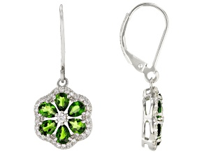 Green Chrome Diopside Rhodium Over Sterling Silver Earrings 2.08ctw