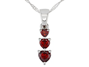 Red Garnet Rhodium Over Sterling Silver Pendant With Chain. 1.49ctw