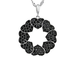 Black Spinel Rhodium Over Sterling Silver Pendant with Chain 1.81ctw