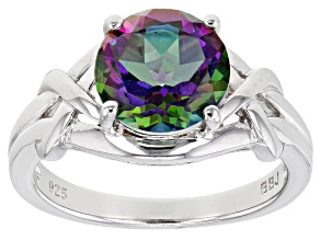 Mystic Fire (R)Green Topaz Rhodium Over Sterling Silver Solitaire Ring 2.93ct