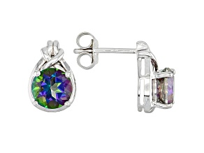 Mystic Fire(R) Green Topaz Rhodium Over Sterling Silver Earrings 2.79ctw