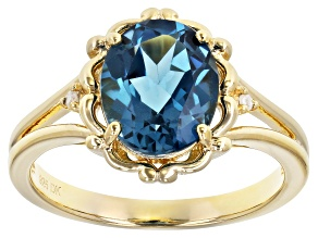 Blue Topaz 18K Yellow Gold Over Sterling Silver Ring 2.77ctw
