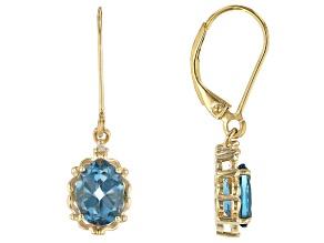 Blue Topaz 18K Gold Over Sterling Silver Dangle Earrings 2.73ctw