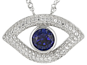 Blue Lab Created Sapphire Rhodium Over Sterling Silver Evil Eye Pendant With Chain 1.20ctw