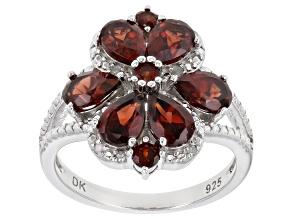Red Vermelho Garnet™ Rhodium Over Sterling Silver Ring 3.12ctw