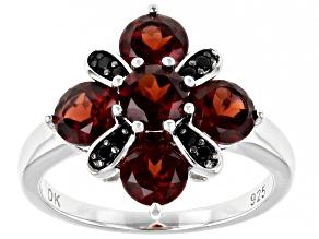 Red Garnet Rhodium Over Sterling Silver Ring 3.03ctw