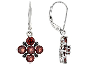 Red Garnet Rhodium Over Sterling Silver Dangle Earrings 3.16ctw