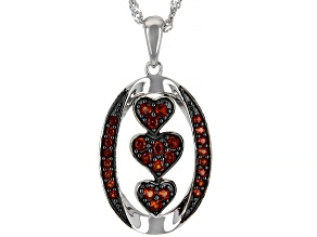 Red Vermelho Garnet™ Rhodium Over Sterling Silver Pendant With Chain .67ctw