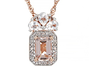 Pink Morganite 18k Rose Gold Over Sterling Silver Pendant With Chain 1.11ctw