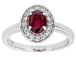 Red Mahaleo® Ruby Rhodium Over Sterling Silver Halo Ring 1.38ctw
