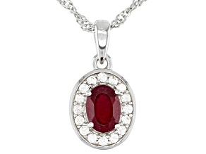 Red Mahaleo Ruby Rhodium Over Sterling Silver Halo Pendant with Chain 1.35ctw