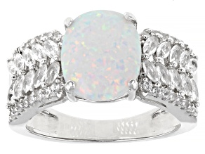 Multi Color Lab Created Opal Rhodium Over Sterling Silver Ring 0.89ctw