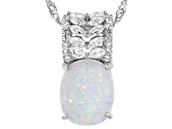 Picture of Multicolor Lab Created Opal Rhodium Over Sterling Silver Pendant Chain 0.47ctw