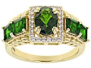 Green Chrome Diopside 18k Yellow Gold Over Silver Ring 2.69ctw