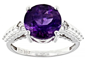 Purple Amethyst Rhodium Over Sterling Silver Ring 2.06ctw