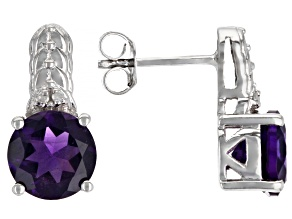 Purple African Amethyst Rhodium Over Sterling Silver Earrings 2.09ctw