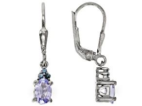 Blue Tanzanite Black Rhodium Over Sterling Silver Dangle Earrings 0.71ctw