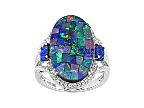 Multicolor Mosaic Opal Triplet Rhodium Over Sterling Silver Ring 0.11ctw