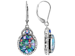 Multicolor Mosaic Opal Triplet Rhodium Over Sterling Silver Earrings 0.11ctw
