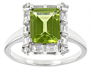 Green Peridot Rhodium Over Sterling Silver Ring 2.68ctw