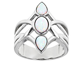 Multi Color Lab Created Opal Rhodium Over Sterling Silver 3-Stone Ring 7x5mm