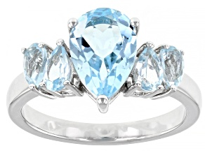Sky Blue Topaz Rhodium Over Sterling Silver Ring 3.05ctw