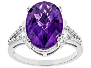 Purple Amethyst Rhodium Over Sterling Silver Ring 4.90ctw