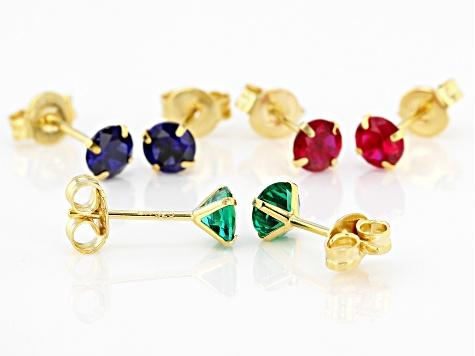 Blue Lab Sapphire, Lab Ruby, Lab Emerald 18k Yellow Gold Over Silver Set Of 3 Earrings 2.89ctw
