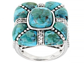 Blue Turquoise Rhodium Over Sterling Silver Ring 0.28ctw