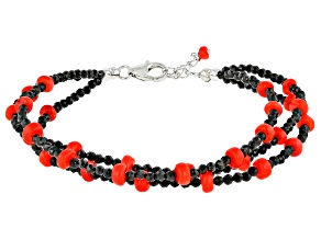 Red Ethiopian Opal Rhodium Over Sterling Silver Bracelet