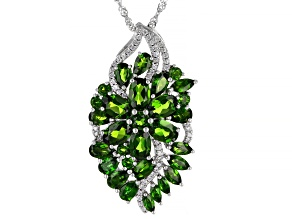 Green Chrome Diopside Rhodium Over Silver Pendant Chain 6.81ctw